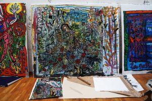 Oeuvres en cours. exposition Michel Houellebecq, RESTER VIVANT, Palais de Tokyo, juin 2016