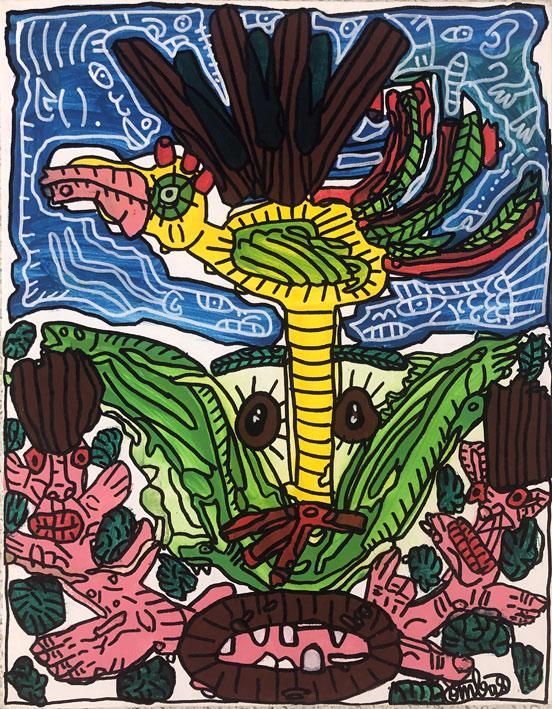 L'espoir naîtra de l'oiseau déguisé en tête avec salade et jeunesse rosée
